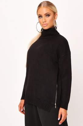 I SAW IT FIRST Black Roll Neck Zip Side Jumper