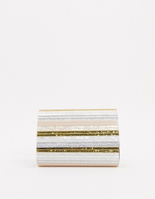 Kurt Geiger party envelope clutch bag with chain in pinks