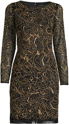 Aidan Mattox Beaded Sequin Long-Sleeve Sheath Dress