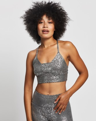 Sweaty Betty Women's Grey Crop Tops - Disco Metallic Bra - Size S at The Iconic