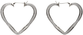 Saint Laurent Silver Smoking Twisted Heart Hoop Earrings