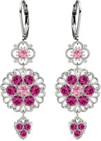 .925 Sterling Silver Flower Shaped Dangle Earrings by Lucia Costin with Filigree Ornaments, Light Pink and Fuchsia Swarovski Crystals, Adorned with Lovely Charms; Handmade in USA