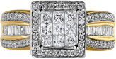 MODERN BRIDE 10K Yellow Gold 1 CT. T.W. Diamond Princess-Style Engagement Ring