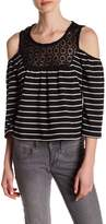 Romeo & Juliet Couture Cold Shoulder Crochet Neckline Shirt