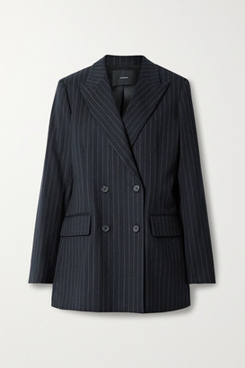Joseph Jorgan Oversized Double-breasted Pinstriped Wool-blend Flannel Blazer - Navy