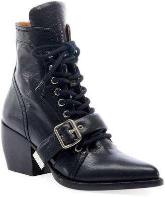 Chloé Rylee Lace-Up Leather Booties