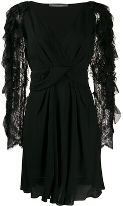 Alberta Ferretti Frilled-Sleeve Dress