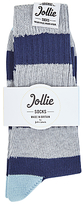 Jollies Exclusive Ribbed Stripe Socks, One Size, Blue/grey