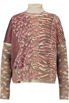 Just Cavalli Printed Wool-Blend Turtleneck Sweater