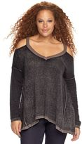 Rock & Republic Plus Size Cold-Shoulder Sweater