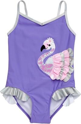 Flapdoodles Flamingo Applique One-Piece Swimsuit