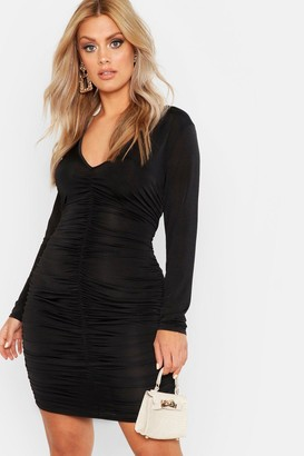 boohoo Plus Ruched Plunge Bodycon Dress