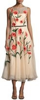 Lela Rose Floral-Appliqué Sleeveless Midi Dress, Blush/Multi