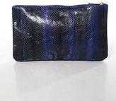 Scoop NYC Blue Black Embossed Leather Zipper Top Clutch Handbag