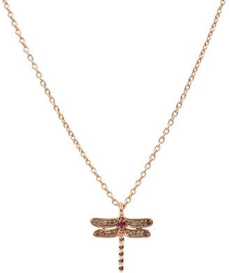 Latelita Diamond & Ruby Dragonfly Necklace Rosegold
