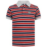Lacoste LacosteBoys Red & Navy Striped Polo Top