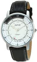 August Steiner Men's AS8124SS Silver Swiss Quartz Watch with White Dial and Black with White Stitching Leather Strap