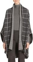 St. John Felted Wool Windowpane Jacquard Knit Cardigan