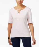 Karen Scott Cotton Split-Neck T-Shirt, Only at Macy's