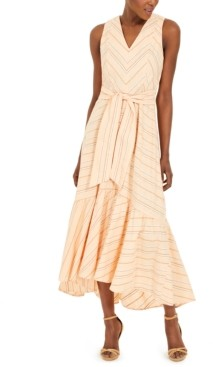 Calvin Klein Striped Belted Maxi Dress