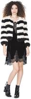 Alice + Olivia Fawn Striped Fur Jacket