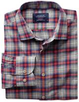 Slim Fit Red And Grey Check Heather Cotton Shirt Single Cuff Size Xs By Charles Tyrwhitt