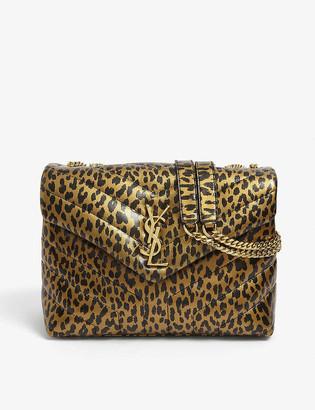Saint Laurent Loulou leopard-print small leather cross-body bag