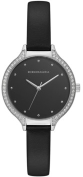 BCBGMAXAZRIA Ladies Black Leather Strap Watch with Black Dial and Silver Case, 34mm