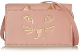 Charlotte Olympia Feline Textured-leather Shoulder Bag - Blush