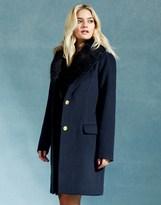 Vila Detachable Fur Collar Coat