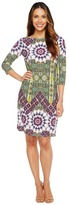 London Times Imperial Tile 3/4 Sleeve Shift Dress