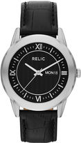 JCPenney RELIC Relic Mens Silver-Tone Black Leather Strap Watch ZR77267