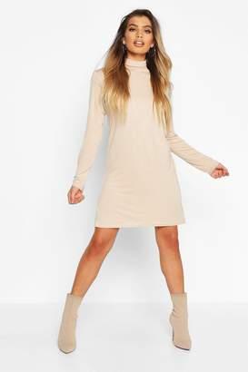 boohoo Roll Neck Long Sleeve T-Shirt Dress