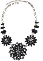 JCPenney MIXIT Mixit Black Stone & Crystal Floral Statement Necklace