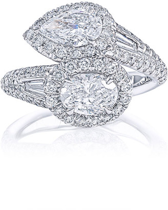 JB Star Platinum Diamond Pear & Oval Bypass Ring