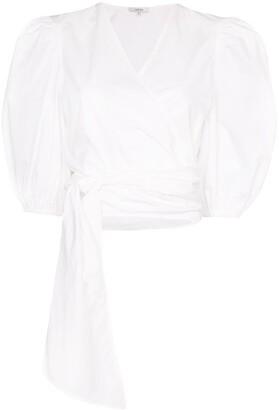 Ganni wrap-front cropped blouse