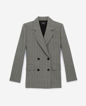 The Kooples Flowing grey d-breasted jacket w/herringbone