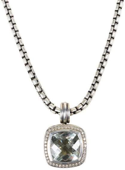 David Yurman Albion 925 Sterling Silver & 18K Yellow Gold with Diamond & Prasiolite Necklace