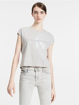 Calvin Klein Cap Sleeve Cropped Logo T-Shirt