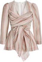 Isa Arfen Wrap-Effect Striped Cotton Top
