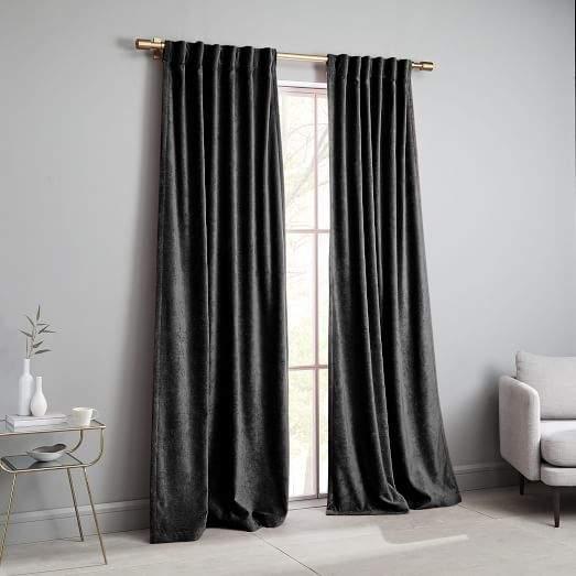 west elm Worn Velvet Curtain - Metal