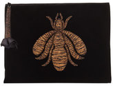 Sanayi313 Insect-Embroidered Velvet Clutch Bag