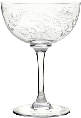 Six Hand-Engraved Crystal Champagne Saucers With Ferns Design