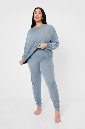 Nasty Gal Womens Plus Size Ribbed Top and Sweatpants Lounge Set