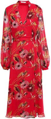 Equipment Andrese Floral-print Silk-chiffon Midi Wrap Dress