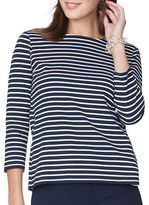 Chaps Striped Lace-Up Top