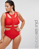 Monif C Red Cut Out Swimsuit
