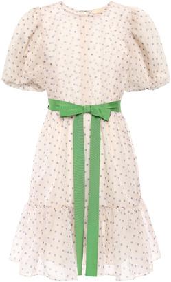 By Ti Mo Grosgrain-trimmed Polka-dot Organza Mini Dress