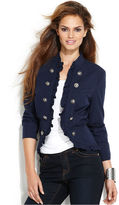 INC International Concepts Jacket, Ruffle-Front Military