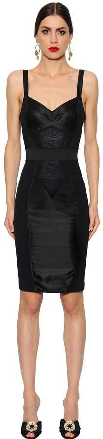 Dolce & Gabbana Stretch Techno Satin Pencil Dress